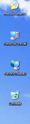 Icones Bureau sous Window XP