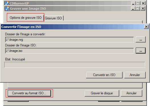 Convertir une image ISO