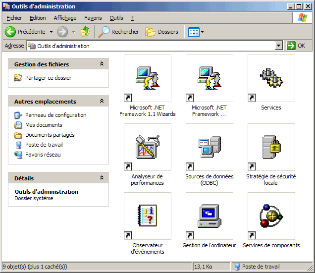 Le panneau de configuration sous windows xp utiliser et for Fenetre windows outils