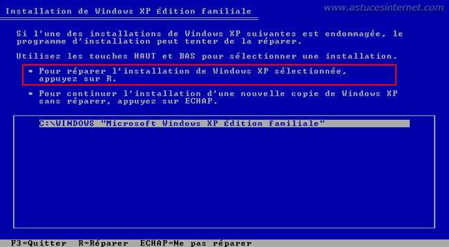 Réparation de Windows 2